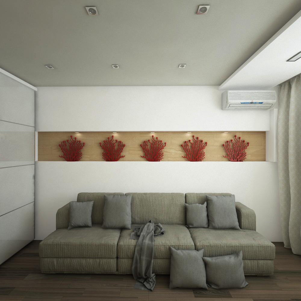 Гостиная, Вид на диван. Вариант 1