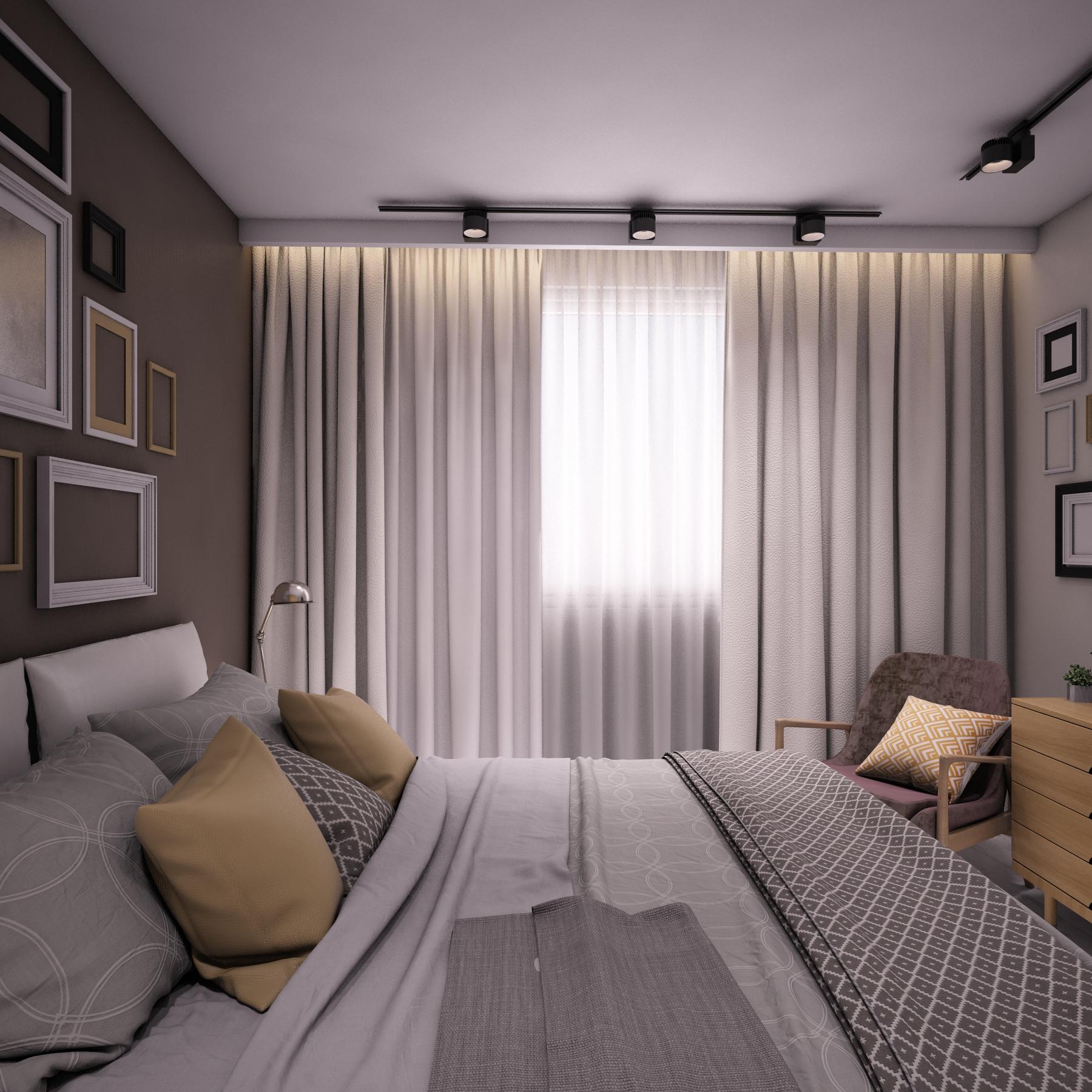 Спальня, вид на окно.